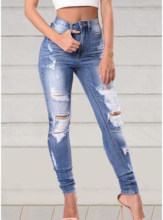 Patchwork Plus Size Ripped Elegant Sexy Denim & Jeans