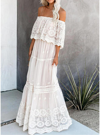 Lace/Solid 1/2 Sleeves A-line Elegant Maxi Dresses