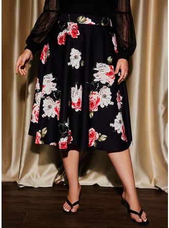 Print Floral Knee Length Plus Size Party