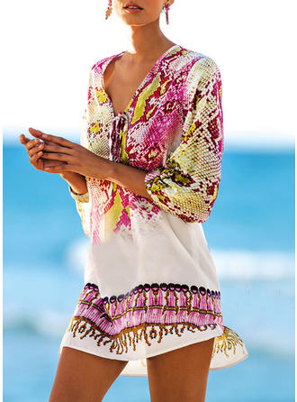 Floral Print V-Neck Beautiful Cover-ups Swimsuits