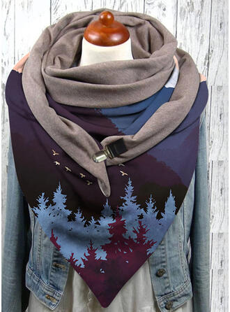 Geometric Print/Stitching/Print attractive/Warm/Triangle Scarf