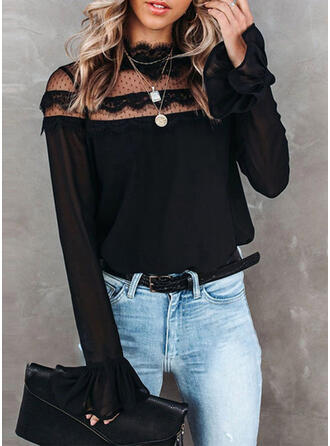 Solid Lace Stand collar Flare Sleeve Long Sleeves Casual Blouses