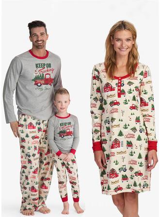 Letter Print Voor Gezinnen Kerst Pyjamas