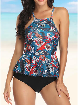Floral Stripe Leaves Print Cross Strap Fashionable Beautiful Tankinis Swimsuits
