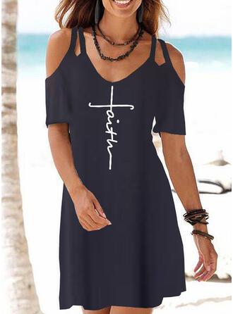 Print Korte Mouwen/Cold Shoulder Mouw Shift Boven de knie Casual/Vakantie T-shirt Jurken