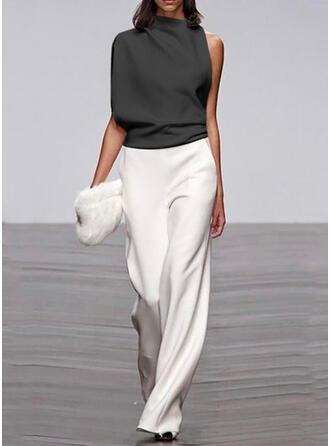 Color-block Stand collar Sleeveless Casual Elegant Jumpsuit