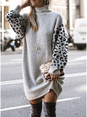 Color Block/Leopard Long Sleeves Dropped Shoulder Shift Above Knee Casual Sweater Dresses