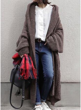 Solide Met capuchon Casual Lang Vest