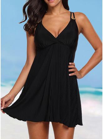 Solid Color Strap V-Neck Elegant Plus Size Casual Swimdresses Swimsuits