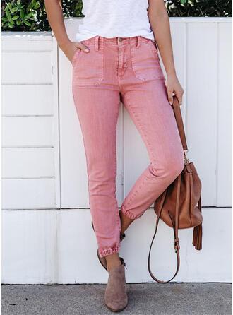 Solide Shirred Grote maat Lang Elegant Sexy Spijkerbroek
