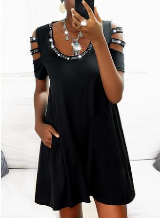 Solid 1/2 Sleeves Cold Shoulder Sleeve Shift Above Knee Little Black/Casual Dresses