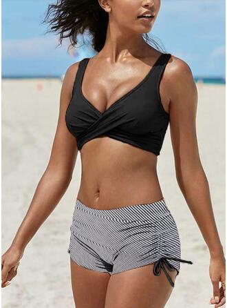 Stripe Strap V-Neck Casual Exquisite Bikinis Swimsuits