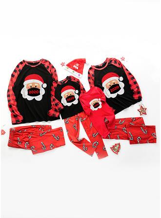 De Kerstman Kleur-Blok Spotprent Voor Gezinnen Pyjama