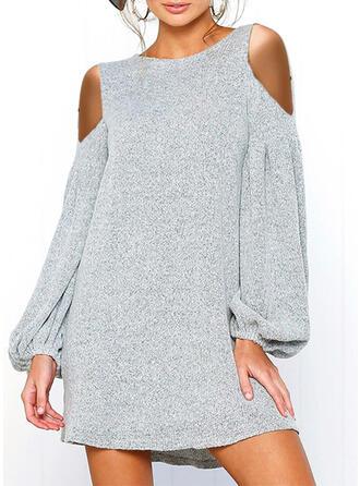 Solide Lange Mouwen/Cold Shoulder Mouw Shift Boven de knie Zwart jurkje/Casual Tunieken Jurken