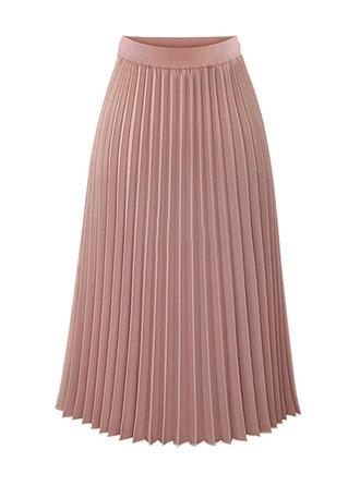 Chiffon Plain Mid-Calf Pleated Skirts A-Line Skirts