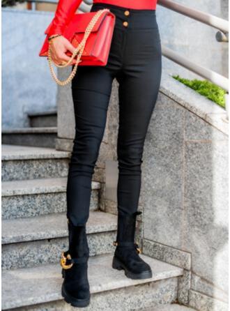 Solid Long Casual Elegant Plus Size Pocket Button Pants