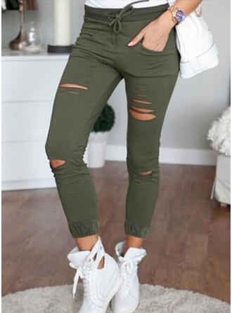 Solid Plus Size Ripped Sexy Vintage Pants