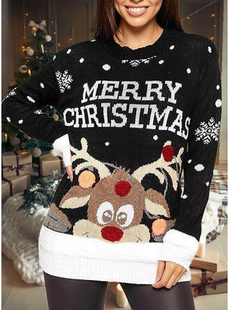 Women's Print Reindeer Letter Ugly Christmas Sweater
