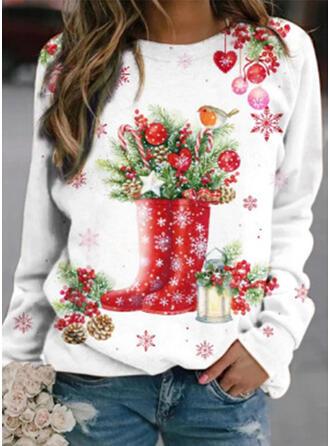 Print Ronde nek Lange Mouwen Kerst Sweatshirt