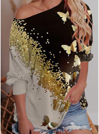 Print Color Block Butterfly One Shoulder Long Sleeves Sweatshirt