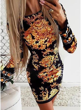 Print/Floral Long Sleeves Bodycon Above Knee Vintage/Party/Elegant Dresses