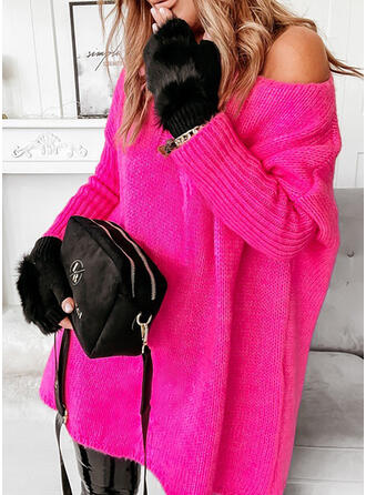 Solid Long Sleeves Dropped Shoulder Shift Above Knee Casual Sweater Dresses