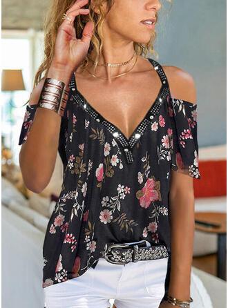 Print Floral Sequins Cold Shoulder Short Sleeves Casual Blouses