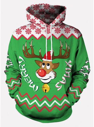 Unisex Cotton Blends Reindeer Letter Christmas Sweatshirt