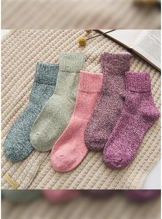 Effen kleur Warme/Ademend/Comfortabel/Crew sokken Sokken (Set van 5 paren)