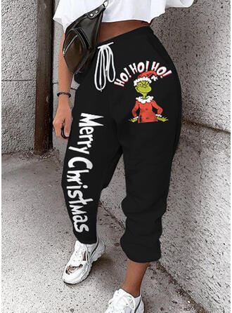 Patchwork Print Drawstring Christmas Casual Sporty Pants