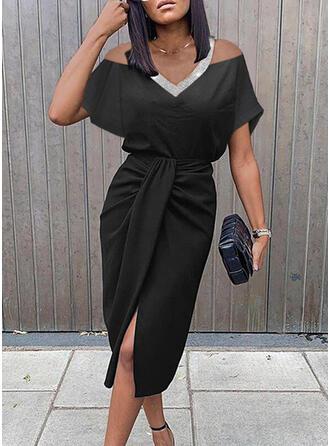 Sequins/Solid Short Sleeves Sheath Knee Length Little Black/Elegant Dresses