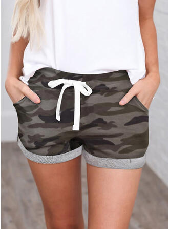 Shirred Camouflage Mini Casual sportieve Shorts
