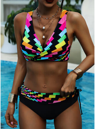 Strap V-Neck Vintage Plus Size Bikinis Swimsuits