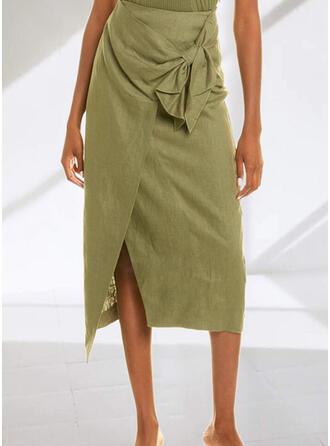 Linen Plain Patchwork Mid-Calf Pencil Skirts Asymmetrical