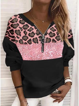 Color Block Leopard V-Neck Long Sleeves Sweatshirt