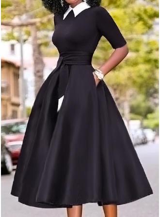 Color Block 3/4 Sleeves A-line Skater Elegant Midi Dresses