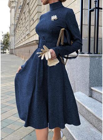 Solid Long Sleeves A-line Skater Little Black/Elegant Midi Dresses