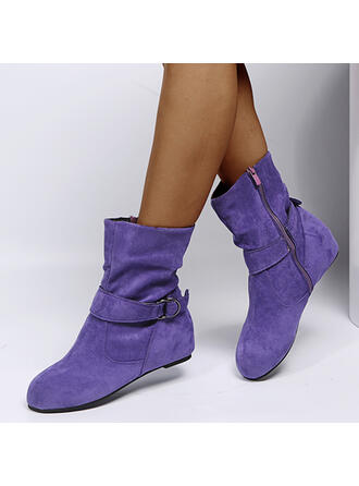 Women's Suede Flat Heel Ankle Boots Round Toe With Ruched Solid Color shoes