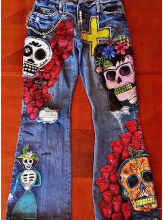 Color Block Grote maat Halloween Lang Casual Tribal Spijkerbroek