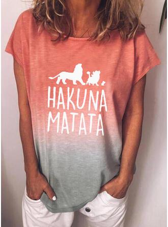 Animal Print Figure Gradient Round Neck Short Sleeves T-shirts