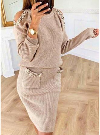 Solide Pocket Met Kralen Cold Shoulder Casual Lang Sweaterjurk