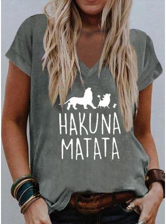 Animal Print Letter V-Neck Short Sleeves T-shirts