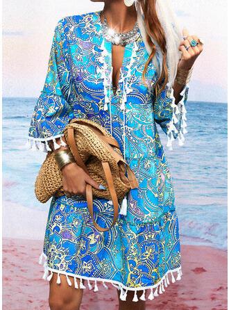 Print 3/4 Sleeves Flare Sleeve Shift Above Knee Casual/Boho/Vacation Tunic Dresses