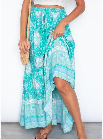 Polyester Print Floor Length A-Line Skirts