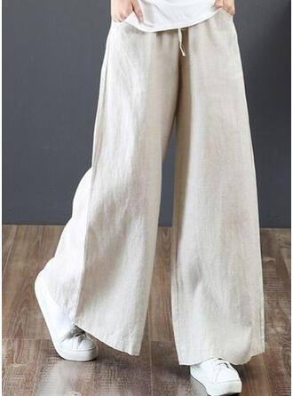 Zakken Shirred Grote maat Lang Boho Casual Elegant Broeken