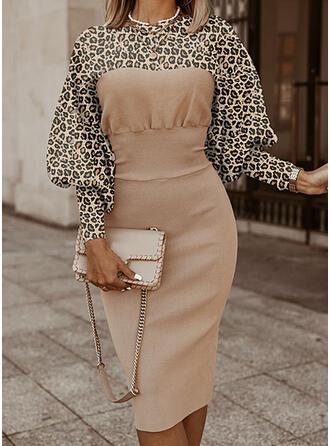 Kleurblok luipaard Opstaande Kraag Casual Lang Slanke Sweaterjurk
