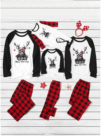 Plaid Letter Spotprent Print Voor Gezinnen Kerst Pyjamas