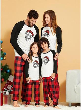 Kleur-Blok Plaid Letter Voor Gezinnen Kerst Pyjamas