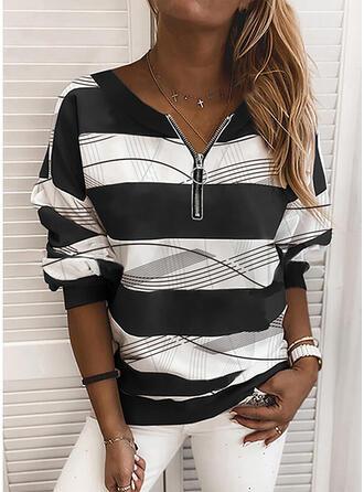 Color Block V-hals Lange Mouwen Sweatshirts