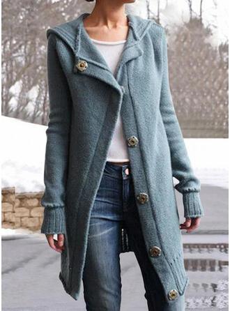 Solide Met capuchon Casual Vest
